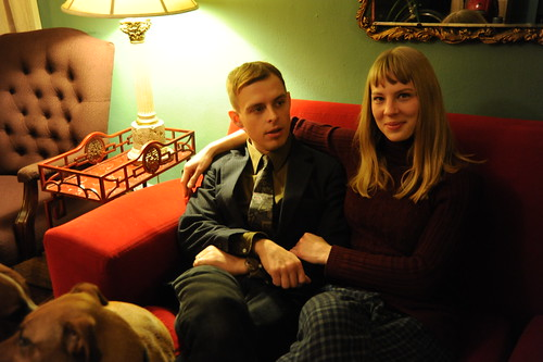 Samantha and her beau, with noble animals Rosie and Bowser, Christmas Eve, brush, Beacon Hill, Seattle, Washington, USA by Wonderlane
