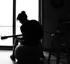 362.365 music saves lives (Kali Koldwater) Tags: wood old winter portrait music snow window girl up silhouette yoga female self work vintage ball out fossil phone floor boots guitar michigan watch profile dial wrapped calm retro passion tune stool somber rotary aerobics absorbed 2010 multitasking compel involved flintmichigan