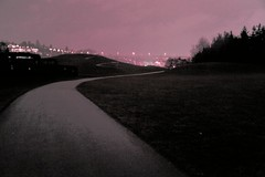 Night road, winding paths, post industrial park, pink glow, Seattle, Washington, USA (Wonderlane) Tags: seattle usa washington 2160 nightroad postindustrialpark