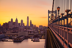 Philly Bathed in Sunset from the Ben Franklin Bridge (chris lazzery) Tags: longexposure sunset philadelphia pennsylvania benfranklinbridge canonef24105mmf4l 5dmarkii bw30nd
