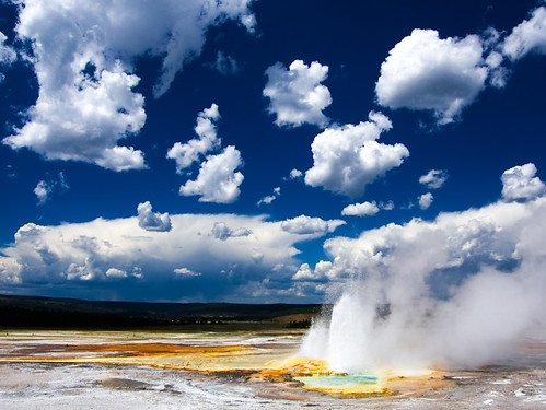 landscape scenery steam yellowstonenationalpark yellowstone geyser geothermal cloudscape eruption hotsprings lowergeyserbasin clepsydrageyser yellowstonenationalparksclouds