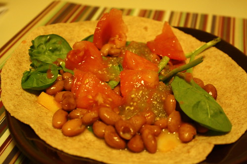 whole wheat tortilla, spinach, pinto beans, tomato, cheese