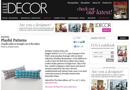 AphroChic Featured in Elle Decor