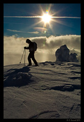New Beginnings (AlpineEdge) Tags: winter sky sun mountain snow lines silhouette clouds snowshoe outdoors shadows wind exploring aaron explore backpack environment poles snowshoes bigwhite 152 lightweight mountainhardwear snowghosts geartest