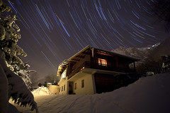 Chalet StarTrail Chamonix (Feo David) Tags: house snow france night star trail chalet savoie chamonix startrail