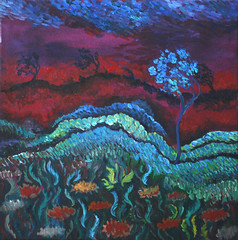 landscape in red (Dawn Woodhouse) Tags: red colour rot art painting rouge rojo colours bright contemporary vibrant oil colourful cheerful rood rosso ahmar byhand lyrical kokino crven