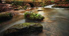Under the bridge (Jo_Krazy) Tags: park longexposure bridge castle water leaves wales bench waterfall woods stream stones sigma1020mm ewloe nd30 canon60d daylightlongexposure werpe nd6stopfilter