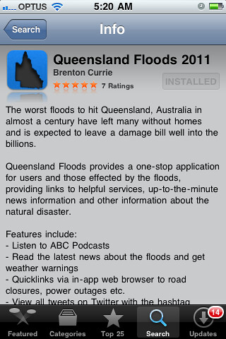 Queensland Floods 2011 App on iPhone / iPod