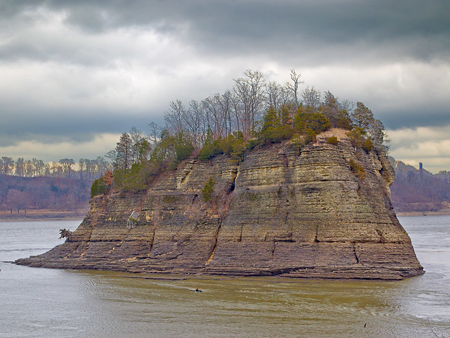 Tower Rock in the Mississippi River, in Perry County, Missouri, USA