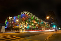colors of the night (Andy Kennelly) Tags: california santa street light bus tree green cars colors night dark lights solar colorful long exposure power cross traffic streak walk garage parking trails center palm sidewalk trail monica friendly civic after signal eco