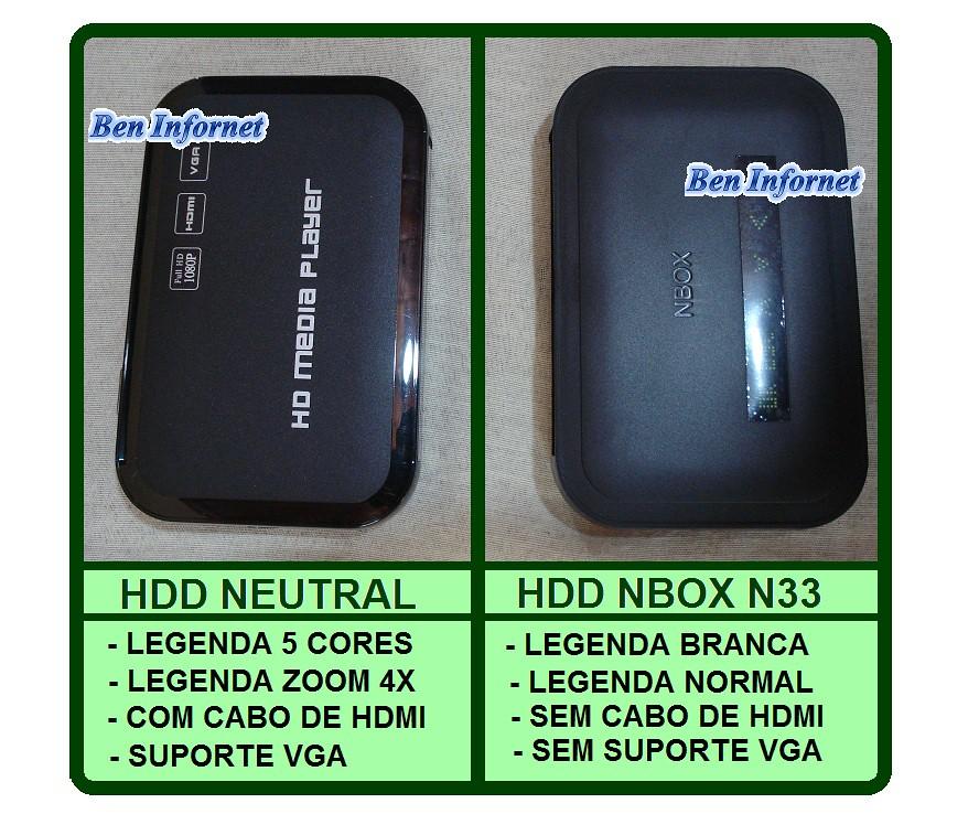 NBOX N33 FULL HD 1080p HDMI LEGENDA ACENTUAÇŐES