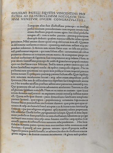 Beginning of Paiellus, Guglielmus: Congratulatio pro patria ad Nicolaum Tronum