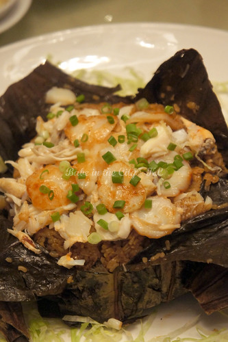 Braised Seafood Rice w Aust Scallops, Fresh Crabmeat & Abalone Sauce in Lotus Leaf