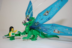 Coral and Chrysalis (Siercon and Coral) Tags: green castle dragon lego wizard magic queen elf fairy fantasy mage faerie elven moc afol forestman forestmen forestwoman