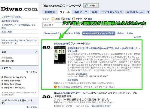 ファンページにブログの更新内容を表示