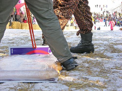 a sled of baguettes prepares for descent