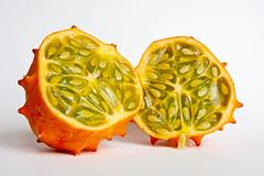 Horned melon (shutterbugdeb) Tags: food orange green fruit pretty exotic melon spikes horned kiwano