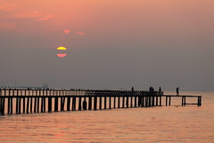 A Double Colored Sun... cool. (ChR!s H@rR!0t) Tags: sea sun sunrise double penang clored telok tempoyak mygearandme mygearandmepremium