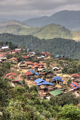 Looking down at the Akhar village 2 (Pondspider) Tags: mountains hill tribes laos hilltribes animism luangnamtha animist anneroberts annecattrell ahkar pondspider