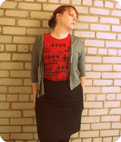 red shirt black skirt