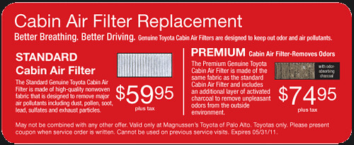 Cabin Air Filter Replacement  | Bay Area Toyota Dealer serving San Jose, Palo Alto, Fremont
