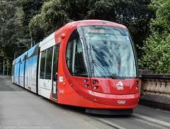 Sydney Light Rail - LRV 2123 Dulwich Hill bound runs down the Pitt Street ramp (john cowper) Tags: sydneylightrail lrv2123 centralrailwaystation railwaycolonnade urbos3 dulwichhill transportfornsw sydneypublictransport sydney newsouthwales