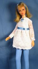 Francie White Lace overlay minidress (Debras Closet) Tags: francie white blue mod doll clothes