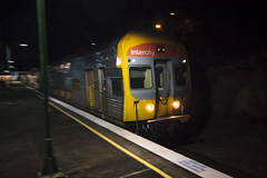 The Lithgow bound (Nathan Murphy) Tags: xpt nswtrainlink nswtrains nsw trains stations platfrom lights trails blue yellow intercity colours day night lapstone