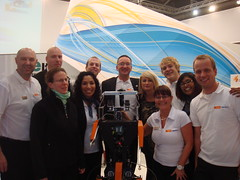 Group photo on the Farnell stand (Dutch Robotics) Tags: dutch robot soccer tulip robotics humanoid tudelft robocup farnell dutchrobotics