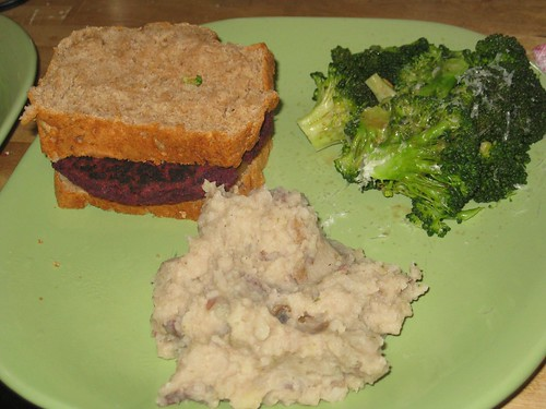 Veggie burger, broccoli, mashed potatoes