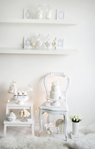 White winter dessert table