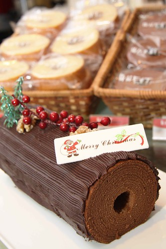 Chocolate baumkuchen with chocolate cream