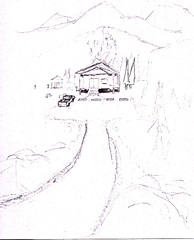 Concept art of the front of a lodge