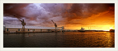 the dock 5 (Maddie Digital) Tags: sunset weather docks ship quay cranes disk shipping wallasey wirral merseyside derricks qauyside wirralwaters