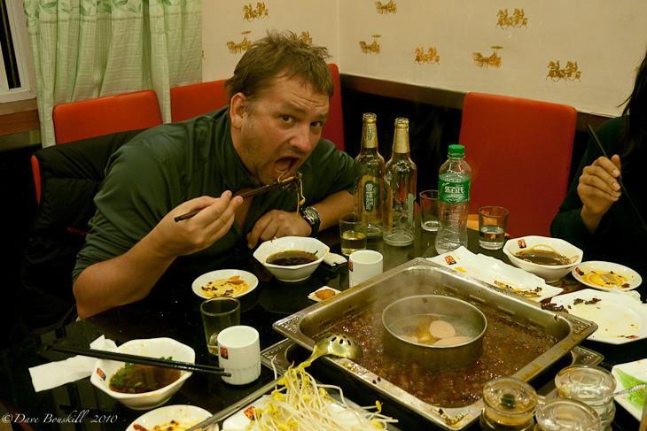 eating a sichuan hot pot in Chengdu China
