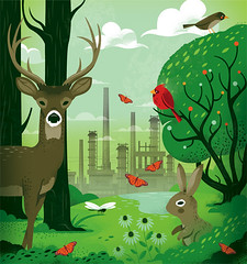 illustration for Cincinnati Magazine (Lindedesign) Tags: animals wetlands editorialillustration cincinnatimagazine