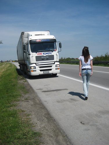 Woman and truck