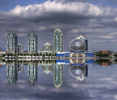 False Creek (HDR) (Brandon Godfrey) Tags: city urban canada reflection art water glass colors skyline architecture vancouver clouds creek photoshop buildings colorful downtown cityscape colours bc metro britishcolumbia photoshopped towers reflected pacificnorthwest colourful van deco hdr highdynamicrange false 2010 scienceworld telusworldofscience tonemapped tonemapping cs5 photomatixpro4