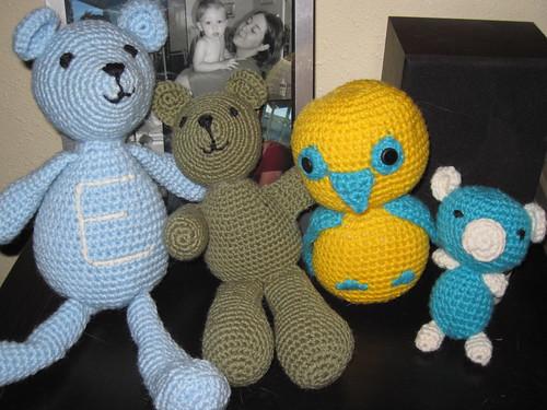Wintermade stuffed animals group