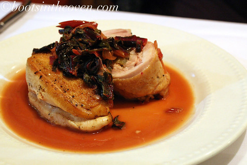 White Wyandotte Chicken Breast and Leg Stuffed with Sweetbreads and Apples with Swiss Chard