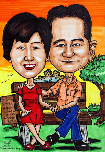 couple caricatures @ sunset park