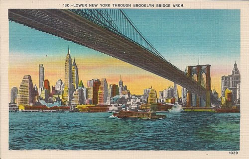 (Undated) Lower New York-Brooklyn Bridge Postcard (Front)