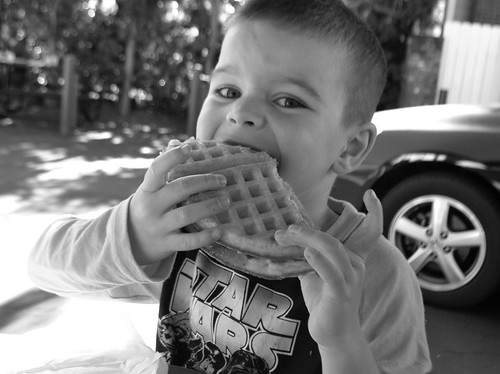 Angry Kid eating some Bruxie Waffles