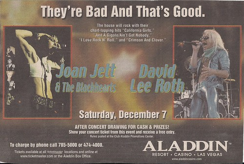 12/07/02 Joan Jett/David Lee Roth @ Las Vegas, NV (Ad)