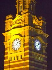 The clock tower at Flinders Street Station - Melbourne (Kumukulanui) Tags: clock station museum australia melbourne victoria clocktower railwaystation flindersstreet statecapital elizabethstreet