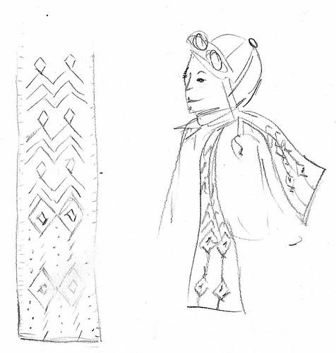 aviator scarf sketch