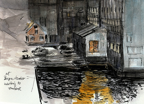 Norway, Bergen harbor, view from the boat