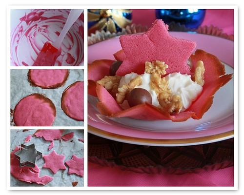 Coppette di cialda rosa con crema di ricotta, mascarpone e noci