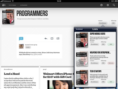 Tweetmag iOS App list management improvement suggestion