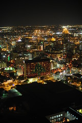 Downtown San Antonio, Texas as seen from the Tower of the Americas (peterlfrench) Tags: christmas city winter sanantonio restaurant nikon downtown december cityscape texas view christmaslights lighty 2010 toweroftheamericas charthouse satx dsc5492 d700 flickrclubsa pfrench99 peterlfrench